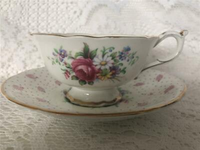 Paragon By Appointment Pink Chintz Pattern With Floral Bouquet Tea Cup & Saucer