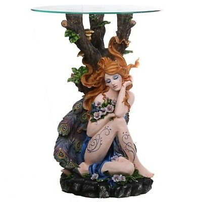 GORGEOUS FOREST FAIRY Table With Glass Table Top Home Decor Statue Ornament