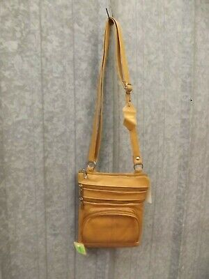 NEW Handcrafted Brown Soft Real Leather Multi Pocket Crossbody Organizer Purse