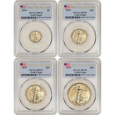 2019 American Gold Eagle 4-pc Year Set - PCGS MS70 First Day Issue Label