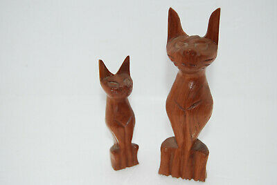 Vintage 1970's Pair of Hand Carved Wooden Siam Cats