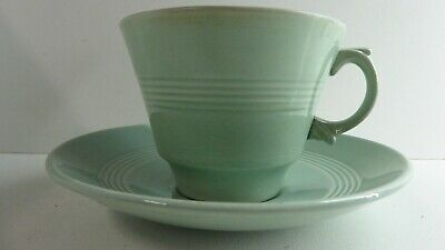 Vintage Beryl Ware Woods Milk Green Large Tea Cup And Saucer Pottery China