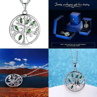 925 STERLING SILVER Cubic Zirconia Created Emerald Tree Of Li Emerald+White Gold
