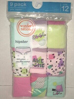 NEW Girls Wonder Nation 9 Pack 100% Cotton Hipster Panties Underwear Size 12