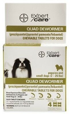 -Bayer Expert Care Quad Dewormer Broad Spectrum Chewables Small Dog 2-25lbs