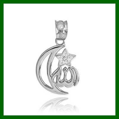 925 STERLING SILVER CZ Accented Islamic Star & Crescent Moon Allah Charm Silver