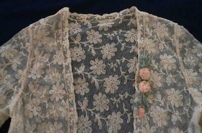 32a0ce0652b67 Antique 1920s French Embroidered Net Lace Jacket Ribbon Rosette Shawl  Tambour?