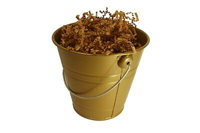 """GOLD Metal Pail Bucket Party Gift 5.5"""" With Crinkle Paper Shred Choose Color"""