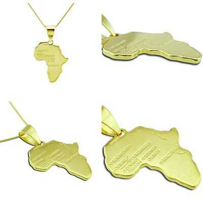 18K Real GOLD Plated Map Of African Pendant Necklace FREE SHIPPING