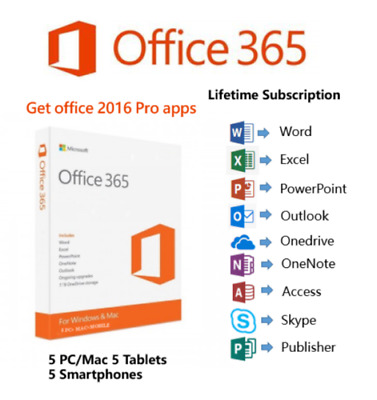 Microsoft Office 365 2016 2019 Pro Key PC/Mac Windows Lifetime