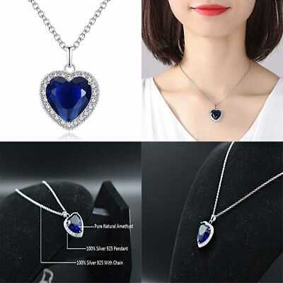 Titanic Heart Of The Ocean Necklace SILVER STERLING BLUE Sapphire Crystal Pendan