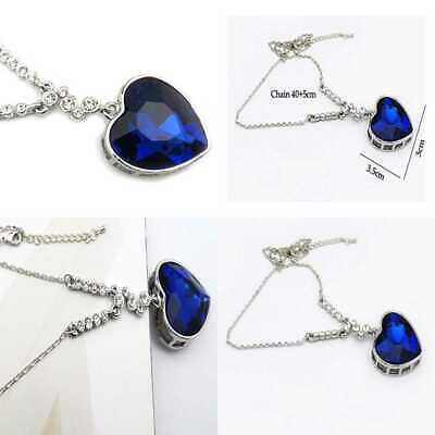 Blue Sapphire Heart Of The Ocean Titanic Pendant Necklace For Women & Girls SILV