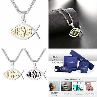 Christian Fish Necklace Religious Jewelry Stainless Steel Chain 18K GOLD Medium