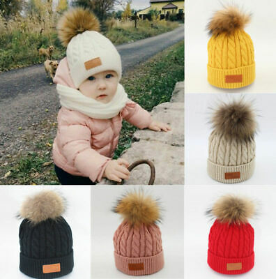 Baby Kids Winter Warm Fur Pom Bobble Cable Knit Beanie Hat Caps Selling Perfect