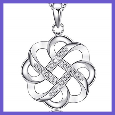 925 STERLING SILVER Endless Love Vintage Irish Celtic Knot Pendant Neckla WHITE