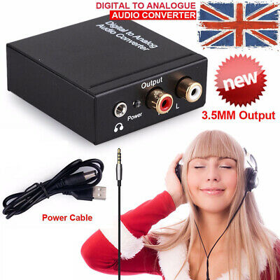 3.5mm Digital to Analog Audio Converter Jack RCA Coax Optical Coaxial Toslink UK