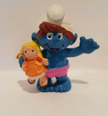 Vintage Smurf CHILD WITH DOLL 2.0446 Peyo Schleich 1997 *combined postage*