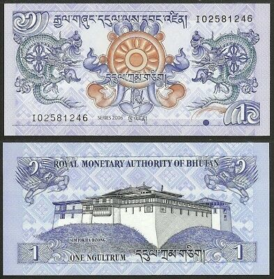 BHUTAN - 1 ngultrum 2006 P# 27 UNC Asia banknote - Edelweiss Coins