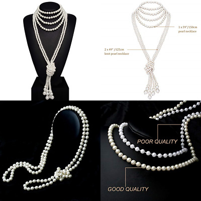 06e1737d1 Art Deco Fashion Faux Pearls Flapper Beads Cluster Long Pearl Necklace 55
