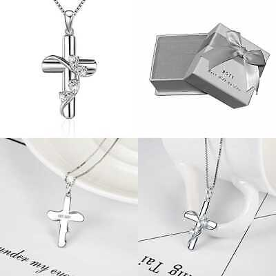 S925 STERLING SILVER Cross Pendant Necklace FREE SHIPPING