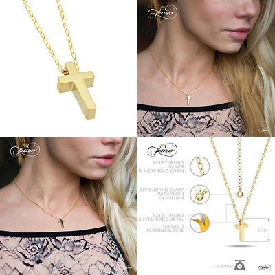925 STERLING SILVER TINY 14K GOLD Plated Cross Necklace SMALL Christian 15Inch +