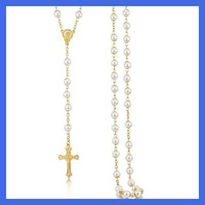 Rosary Necklace For Women WHITE Pearl Beads GOLD Chain Crucifix Pendant