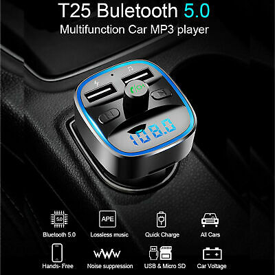 5.0 FM Transmitter Wireless Bluetooth Car Dual USB Charger MP3 Player Handsfree