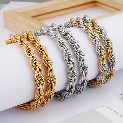 18K Real Gold Plated Stainless Steel Rope Chain Necklace Bracelet Jewelry Set