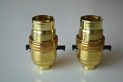 Pair Of Switch Brass Bayonet Fitting Lamp Bulb Holder C/W Shade Ring 10Mm L9