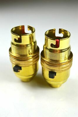 2 Brass Switch Bayonet Fitting Lamp Bulb Holder Lamp Holder Shade Ring 10Mm L9