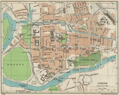 CHESTER. Vintage town city map plan. Cheshire 1957 old vintage chart