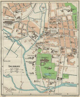 SALISBURY. Vintage town city map plan. Wiltshire 1957 old vintage chart