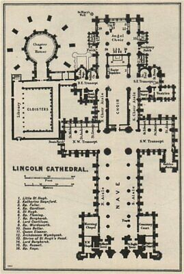 Lincoln cathedral floor plan. Lincolnshire 1957 old vintage map chart