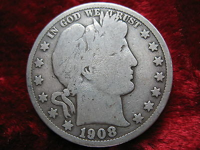 1908-S Barber Silver Half Dollar, Nice Coin! TOUGHER DATE! Free U.S. Shipping!