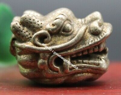 3 CM Miao Silver Chinese Zodiac Animal Lucky Fengshui Dragon Head amulet Pendant