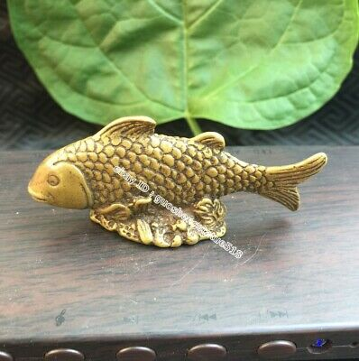 7 CM China Pure Bronze Lucky auspicious Wealth Animal carp Fish Statue sculpture