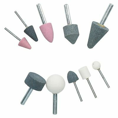 10pc Assorted Abrasive Polishing Grinding Sanding Stones 1/8 and 1/4 Collet
