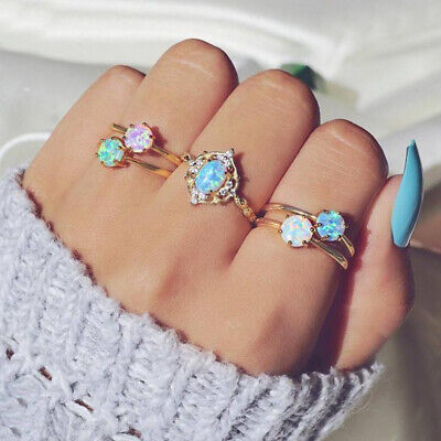 5Pcs/Set Boho Candy Color Fire Opal Midi Finger Ring Knuckle Rings Set Jewelry