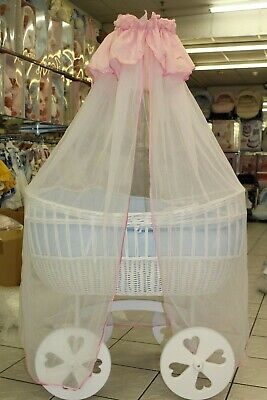Plain white and pink sheer cot bed drape (drape only)