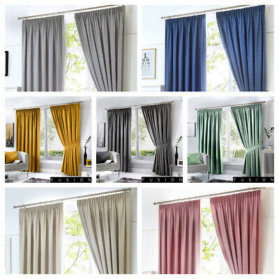 Fusion Plain Dijon Blackout / Thermal Lined Pencil Pleated Curtains. 7 x Colours