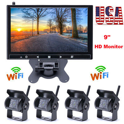 "9"" Monitor + 4 X Wireless Rear View Backup Night Vision Camera For RV Truck Vans"