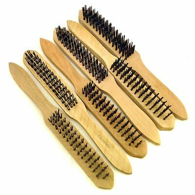 Wire Cleaning Brush 4 Rows of Steel Bristles With Wooden Handle (6 Pack) TE407