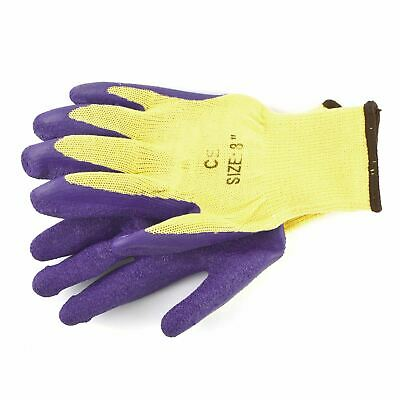 "8"" Builders Protective Gardening DIY Latex Rubber Coated Work Gloves Purple"