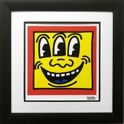"Keith Haring ""KH16"" CUSTOM FRAMED Print POP Street Art Smile Third Eye 3rd Happy"