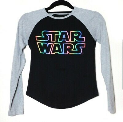 a6390fecb STAR WARS GIRLS Black Gray L/S Raglan T-Shirt Top Size XL 14/16 ...