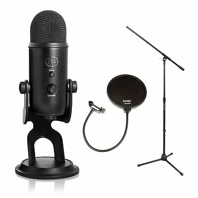 Blue Microphones Yeti 16-Bit USB Microphone (Blackout Edition) + Stand and Pop