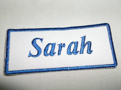 IRON ON NAME PATCH BLUE ON WHITE  1.5  X 3.5 DAVID NEW EMBROIDERED SEW