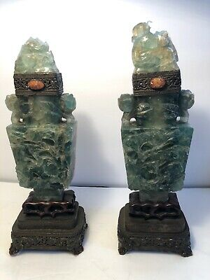 Pair Antique Chinese Urns Vessels Vases Jade Green Quartz Carved Fluorite