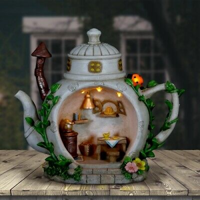 6 by 9 Inches Exhart Solar Teapot House with Kitchen Scene Garden Statue