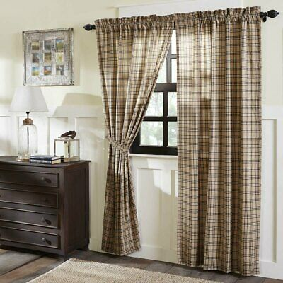 FARMHOUSE COUNTRY CURTAINS Sawyer Mill Charcoal Plaid PAIR 84x40 VHC Brands